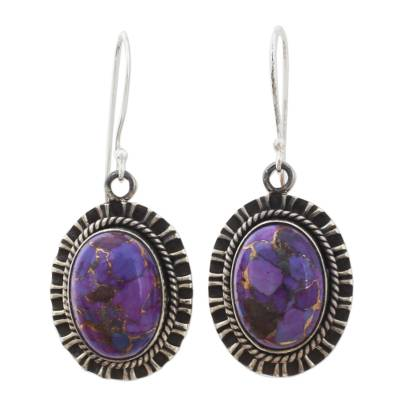 925 Silver Hook Earrings with Purple Composite Turquoise