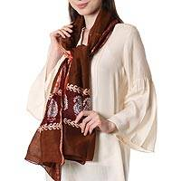 Batik cotton and silk blend shawl, 'Coffee Morning' - Batik Cotton and Silk Blend Shawl with Coffee Paisley Motifs