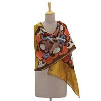 Batik cotton and silk blend shawl, 'Kaleidoscope Memories' - Multicolored Batik Cotton and Silk Blend Shawl from India