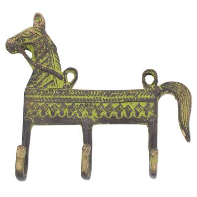 Brass coat rack, 'Helpful Horse' - Antiqued Brass Horse Theme 3.Hook Coat Rack from India