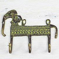 Brass coat rack, 'Helpful Elephant' - Antiqued Brass Indian Elephant Theme 3-Hook Coat Rack