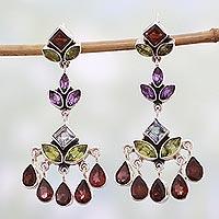 Multi-gem chandelier earrings, 'Classic Radiance' - Indian Multi Gemstone Silver Chandelier Earrings