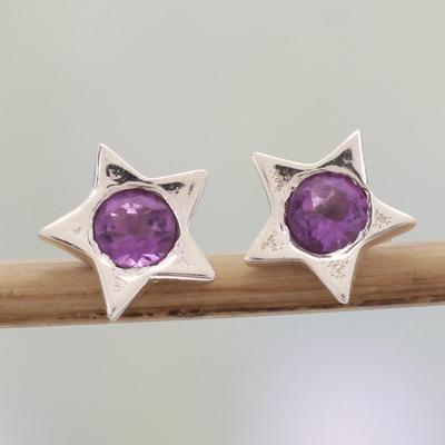d62b4fa6e Amethyst stud earrings, 'Bright Star' - Star Shaped Amethyst and Sterling Silver  Stud
