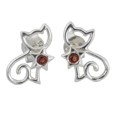 Fair Trade Garnet Sterling Silver Cat Button Earring