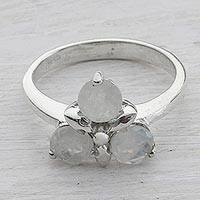 Rainbow moonstone cocktail ring, 'Moon Pyramid' - Indian Rainbow Moonstone and Sterling Silver Cocktail Ring