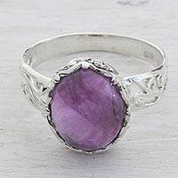 Amethyst cocktail ring, 'Lilac Ecstasy' - Amethyst and Sterling Silver Cocktail Ring from India
