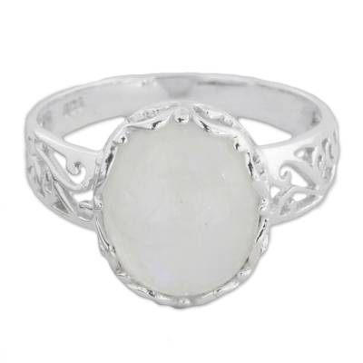 Fair Trade Rainbow Moonstone Sterling Silver Cutout Cocktail Ring