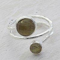 Rutile quartz wrap ring, 'Silver Swirl' - Rutile Quartz and Sterling Silver Wrap Ring from India