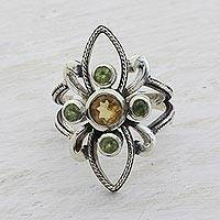 Citrine and peridot cocktail ring, 'Sunny Green Flower' - Citrine and Peridot Cocktail Ring from India