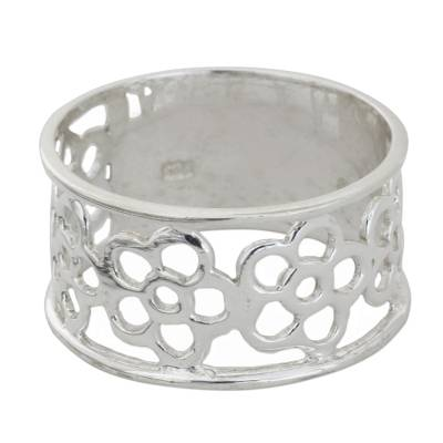 Handmade Sterling Silver Floral Cutout Flower Band Ring