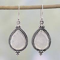 Rainbow moonstone dangle earrings, 'Morning Fog' - Rainbow Moonstone and Sterling Silver Dangle Earrings