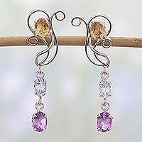 Multigemstone dangle earrings, 'Just Sing' - India Artisan Jewelry Multigemstone Sterling Silver Earrings