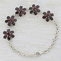 Garnet pendant bracelet, 'Red Blooms' - Garnet and Sterling Silver Link Chain Bracelet from India