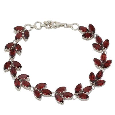 Garnet tennis bracelet, 'Autumn Air' - Garnet and Sterling Silver Tennis Bracelet from India