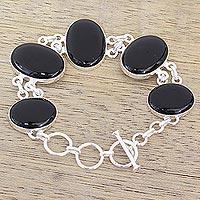 Onyx link bracelet, 'Elegant Protector' - Artisan Crafted Onyx and Sterling Silver Link Bracelet