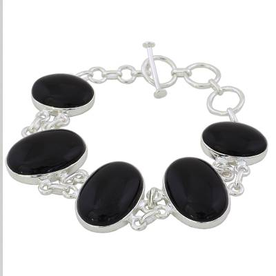 Artisan Crafted Onyx and Sterling Silver Link Bracelet