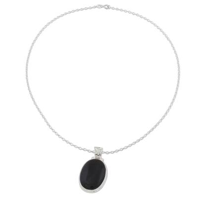 Onyx pendant necklace, 'Elegant Protector' - 925 Silver India Jewelry Chain Necklace with Onyx Pendant