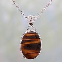 Tiger's eye pendant necklace, 'Hypnotic Feline' - Hypnotic Tiger's Eye Pendant on a 925 Silver Necklace
