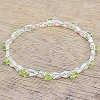 Peridot tennis bracelet, 'Beautiful Discretion' - India 925 Silver Jewelry Peridot Tennis Bracelet 5.5 Cts