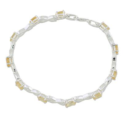 India 925 Silver Jewelry Citrine Tennis Bracelet 5.5 Cts