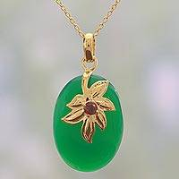 Gold plated onyx and garnet pendant necklace, 'Golden Green Leaves' - Fair Trade Gold Plated Necklace with Green Onyx and Garnet