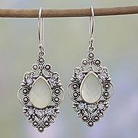 Chalcedony and blue topaz floral dangle earrings, 'Vintage Blossoms' - Vintage Style Earrings in 925 Silver Blue Topaz Chalcedony