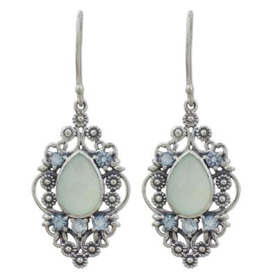 Vintage Style Earrings in 925 Silver Blue Topaz Chalcedony