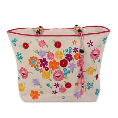 Novica Embroidered jute blend tote bag, Spring Revelry