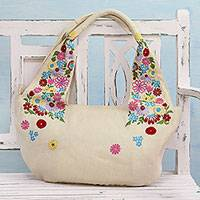 Jute blend hobo bag, 'Field of Flowers in Wheat' - Wheat Coloured Floral Jute Blend Boho Bag from India