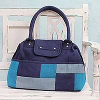 Jute blend shoulder bag, 'Blue Patchwork' - Blue Patchwork Jute Blend Shoulder Bag from India