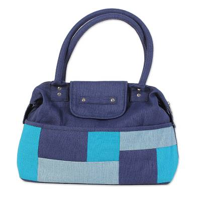 Blue Patchwork Jute Blend Shoulder Bag from India