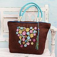 Jute blend tote bag, 'Chestnut Garden' - Jute Blend Floral Tote Handbag in Chestnut from India