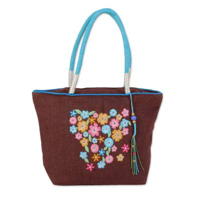 Novica Jute blend shoulder bag, Blue Patchwork