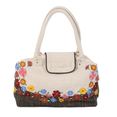Jute blend shoulder bag, 'Spring Flowers' - Ivory Floral Jute Blend Shoulder Bag from India