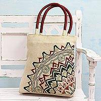 Jute blend tote bag, 'Kolkata Bouquet' - Floral Embroidered Jute Blend Tote in Alabaster from India
