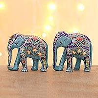 Wood and papier mache sculptures, 'Turquoise Beauty' (pair) - 2 Indian Painted Polished Wood Elephant Sculpture Set