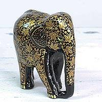 Wood and papier mache elephant sculpture, 'Charm of Chinar' - Papier Mache on Wood Painted Floral Elephant Sculpture