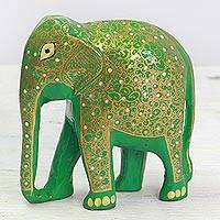 Wood and papier mache sculpture, 'Wise Elephant' - Papier Mache on Wood Green and Gold Elephant Sculpture