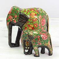 Wood and papier mache sculptures, 'Maternal Bond' (pair) - Indian Set of Two Wooden Painted Floral Elephant Sculptures