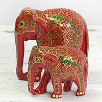 Wood and papier mache sculptures, 'Maternal Glow' (pair) - Set of Two Indian Painted Floral Wood Elephant Sculptures