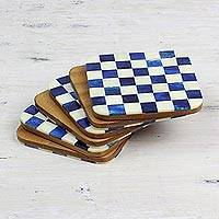 Bone coasters, 'Blue Checkers' (set of 6) - Six Blue and Ivory Checkerboard Bone Coasters from India