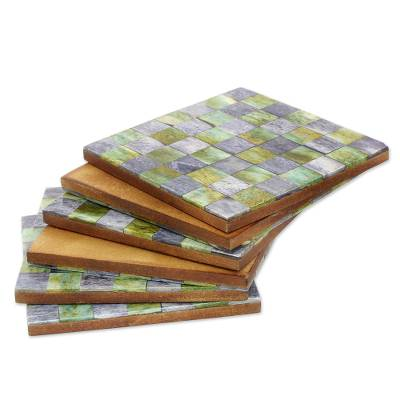 Bone coasters, 'Earthy Checkers' (set of 6) - Six Green and Grey Checkerboard Bone Coasters from India