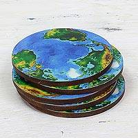 Wood coasters, 'Round Earth' (set of 5) - 5 Round Laminated Wood Coasters of Earth from India