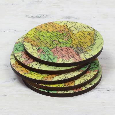 Wood coasters, 'Countries of the World' (set of 5) - Round Laminated Wood Map Coasters (Set of 5) from India