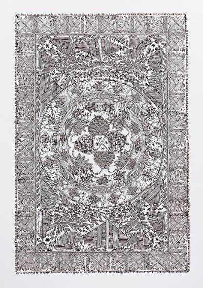 Signed Black and White Madhubani Ink Painting from India