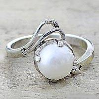 Cultured pearl single stone ring, 'Lyrical Bliss' - Artisan Crafted Cultured Pearl Single Stone Ring from India