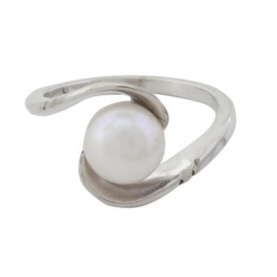 Cultured pearl single stone ring, 'Fantastic Swirl' - Hand Crafted Cultured Pearl Single Stone Ring from India