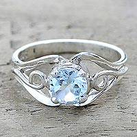 Blue topaz single stone ring, 'Blue Winds' - Artisan Crafted Blue Topaz Single Stone Ring from India