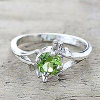 Peridot single stone ring, 'Green Dance' - Peridot and Sterling Silver Single Stone Ring from India