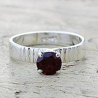 Garnet solitaire ring, 'Elegant Temptation' - Garnet and Sterling Silver Solitaire Ring from India